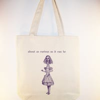 """Alice in Wonderland illlustration, Allice and """"curious"""" quote Canvas Tote - Selection of sizes available"""