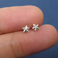 Sterling silver mini wish star ear studs, bridesmaid gift, Valentine gift, mini jewelry, fashion earrings, A cartilage/tragus ring