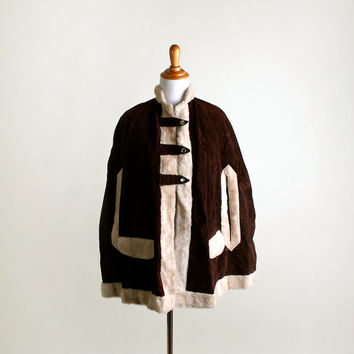 1970s Suede Poncho Coat - Vintage Chocolate Brown Winter Cape