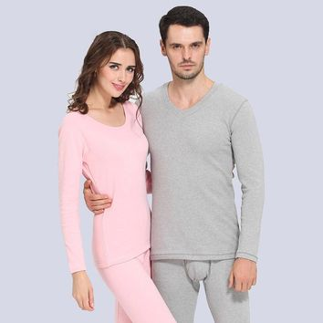 Autumn and winter wool cotton thermal underwear men and women lovers thicken outfit pajamas set