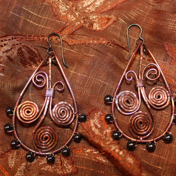 Copper Wire Earrings, Copper Teardrop Hoops, Hematite