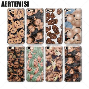 Aertemisi Phone Cases Kimoji Kim Kardashian Kanye North West Kylie Jenner Emojis TPU Case Cover for iPhone 5 5s SE 6 6s 7 Plus