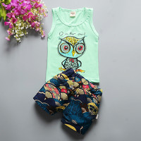 2016 Baby Boy Girl  Summer  Clothing Set short Shirt + Shorts Kid Boy Girl suit childern Cartoon Sports Suit Vest clothes Set