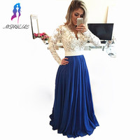 Royal Blue Chiffon Long Prom Dresses Lace Full Sleeves Evening Gown V Neck Pearls Back See Through Women Dress