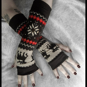 Mountain Lodge Arm Warmers - Fair Isle Red Black Cream Sweater Knit  - Nordic Snow Flakes & Moose - Bohemian Cycling Gothic Goth Ski