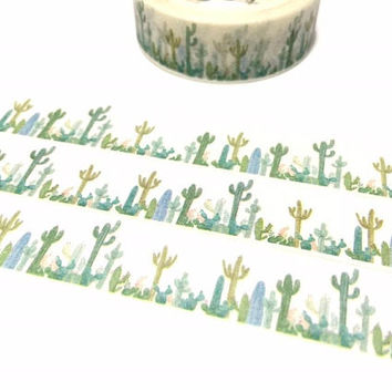 cactus plant washi tape 7M wild cactus desert plant sticker tape succulent plant green plant diary gardening planner deco masking tape