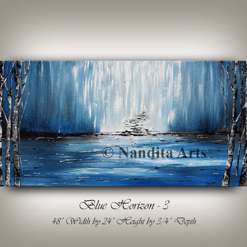 "Painting, Blue Art, Landscape Wall art on canvas, Landscape Painting, Blue Burch Tree Art, Water Fall Artwork, 48""x24"" (121.92x60.96)"