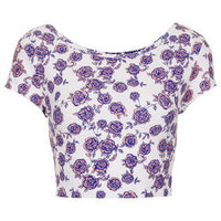 Floral Bardot Crop - Palm Springs  - Clothing