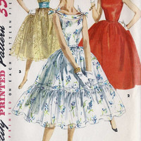 "1950s Misses Sleeveless Party Dress vintage Sewing Pattern, Full Skirt, Summer Dress, Simplicity 1166 Bust 36"" uncut"
