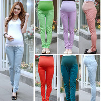 Hot Selling Korea Style Multicolor and Plus Size Cotton Maternity Clothing Belly Pants Fashion Pencil Maternity Jeans X0010