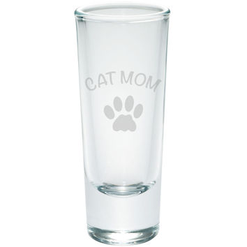 Mother's Day - Cat Mom Etched Shot Glass Shooter