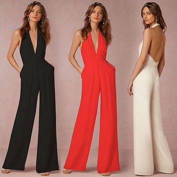 Fashion Casual Sleeveless Halter Deep V Backless Romper Jumpsuit Pants Trousers