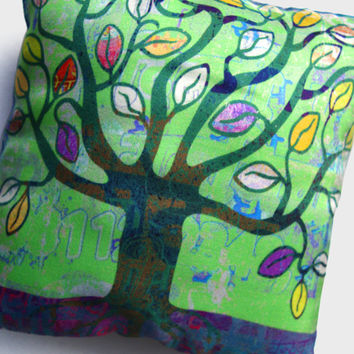 Tree of life, decorative silk cushion / little comfort pillow