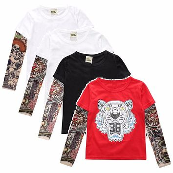 Fake Tattoo Sleeve Hip-Pop Boys T-Shirts Long Sleeve 100% Cotton Fashion Baby Boy Clothes Children Jersey 1 2 3 4 5 6 7 Year Top