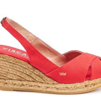 Calella Canvas Wedges - Red