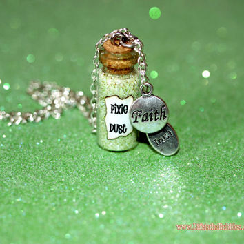 Pixie Dust Magical Necklace with a Faith and Trust Charms  Disney Inspired, by Life is the Bubbles