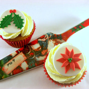 Christmas Cupcake Fondant Edible Toppers, Party Decor Holiday Poinsettia Holly Leaves Fondant Cake Toppers Christmas Party Cupcake - set 12