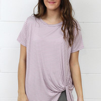 Get Twisted Striped Version Comfy Short Sleeve Basic {Lavender}
