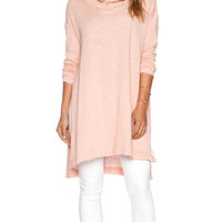 Free People In a Hurry Hoodie in Peach