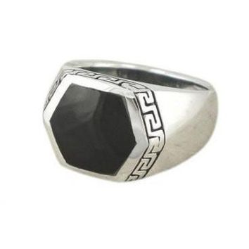 925 Sterling Silver Men's Hexagonal Black Onyx Greek Key Ring