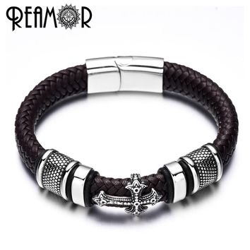 REAMOR 12mm Width Braided Leather Men Bracelets 316L Stainless Steel Cross Charms Cuff Bracelets Bangles Trendy Male Jewelry