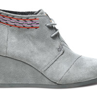 Grey Embroidered Women's Desert Wedges US