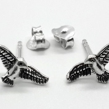 Sterling Silver Eagle Stud Earrings, Bird Stud Earrings, Animal Earrings, flying bird stud earrings, bird jewelry, everyday jewelry, gift
