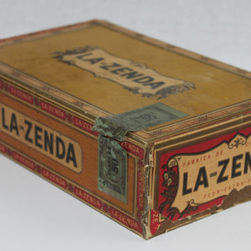 Vintage 1930s LA-ZENDA Wood Cigar Box