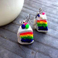 Rainbow Cake Earrings ( Free Shipping To USA)