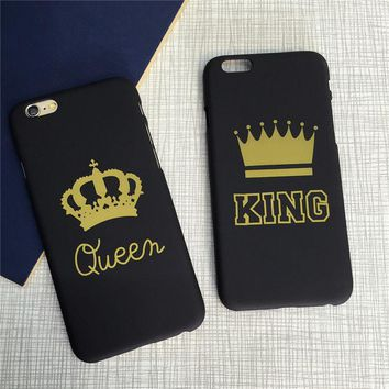 King Queen Couple Matte Hard Case Cover Skin For Apple iPhone 5 5S 6S 7 8 X Plus