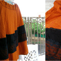 Orange Black Autumn Skirt, Plus size Upcycled Boho Rustic Cotton Lace Long Bell Skirt Adjustable waist Asymmetrical Casual Women Eco Clothes