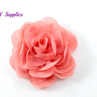 "3"" Coral silk rose fabric flower - Rosette silk flower for headbands - Wedding hair clip flower - Wholesale chiffon flowers"