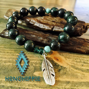 Turquoise beaded feather bracelet, native american jewelry