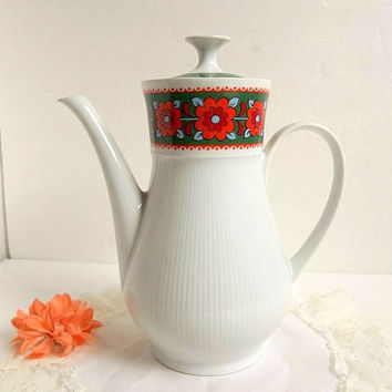 Vintage Winterling Marktleuthen 1970's Retro porcelain Flower teapot coffee pot, orange flowers green band trim on white, tea party