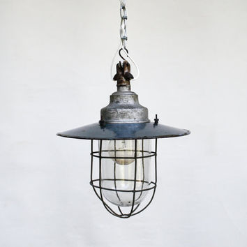 Vintage Industrial Ceiling Lamp / Light Fixture / Enamel Industrial Lighting Pendant / Industrial Decor / Grey and White Shade