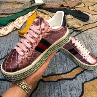 Gucci Crystal Diamond Muffin Thick Base Pink Women Casual Shoes Sneaker