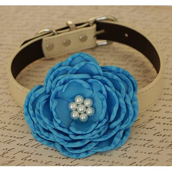 Blue Flower dog collar, Dog birthday gift, Pet wedding ideas