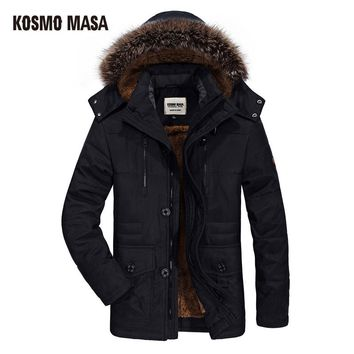 KOSMO MASA Cotton Hooded Winter Jacket Men Warm 6XL Long Parka Hooded Jackets Man Coats Casual Fur Down Parkas Mens MP012