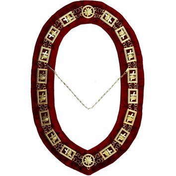 Knights Templar - Masonic Chain Collar - Gold/Silver on Red + Free Case