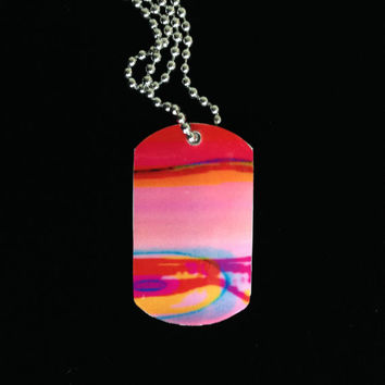 Original artwork dog tag necklace - red/orange/pink/blue horizontal swirls