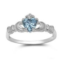 9MM 2ctw Sterling Silver Simulated MARCH AQUAMARINE BIRTHSTONE ROYAL HEART Claddagh Ring 4-10