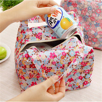 2016 New Lunch Bag Pouch Storage Box Flowers Insulated Thermal Bento Cooler Picnic Tote High Quality Free Shipping N563