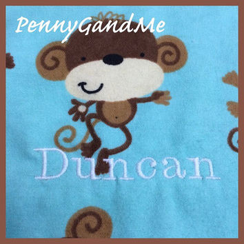 Personalized Burp Cloths ~ Monkey Burp Cloths ~ Circus Burp Cloths ~Baby Boy Burp Cloths ~ Set of 2 or 3