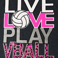 Live Love Play (Hthr) - Volleyball T-shirt by VictorySportsGraphics