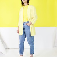 Vintage 1980's Canary Yellow Woven Blazer Size Medium or Large