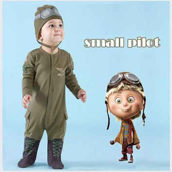 New Girl Boy Newborn Clothes Romper Long Sleeve Jumpsuits Infant Product Baby Rompers Leotard Pilots Army Green Hooded Romper