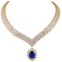 VAN CLEEF AND ARPELS Diamond and Sapphire Necklace and Brooch/Pendant