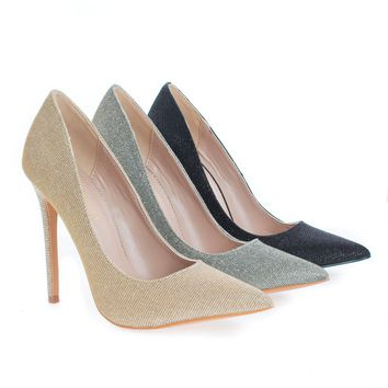 Shiner By Shoe Republic, Shimmering Pointy Toe Classic Stiletto High Heel Pumps