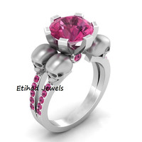 Skull Pink Six Prong  Goth Engagement White Round Solitaire skull Engagement Ring Pink And Silver Filled Ring Pink Sapphire Ring