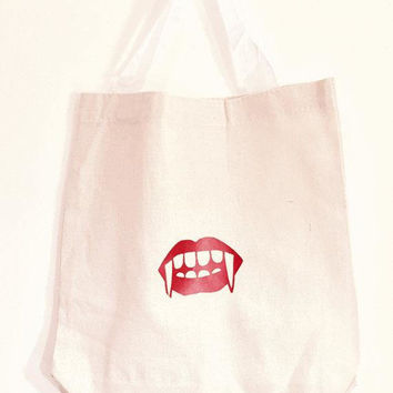 Valentine Tote Bag, Vampire Bag, Canvas Shopper, Novelty Tote, Favor Bag, Lunch Bag, Market Tote, Halloween Candy Bag, Library Bag, Gift Bag